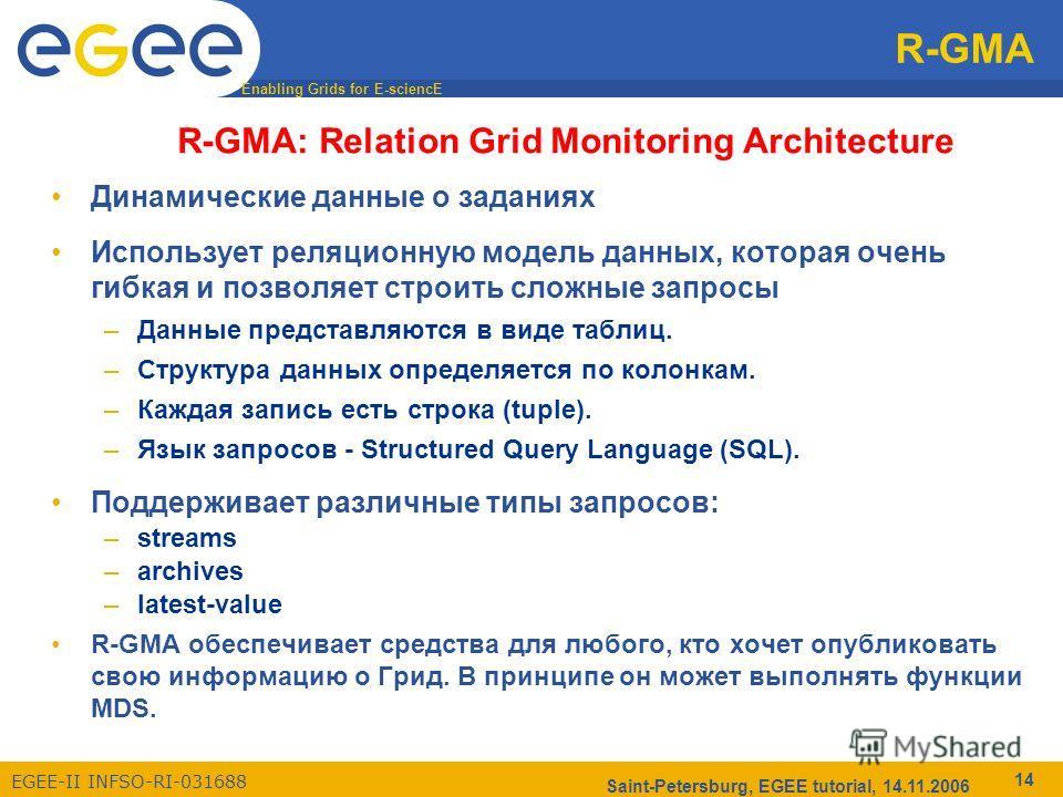 Enabling Grids for E-sciencE EGEE-II INFSO-RI-031688 Saint-Petersburg, EGEE tutorial, 14.11.2006 14 R-GMA R-GMA: Relation Grid Monitoring Architecture Динамические данные о заданиях Использует реляционную модель данных, которая очень гибкая и позволя