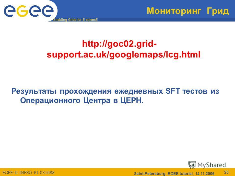 Enabling Grids for E-sciencE EGEE-II INFSO-RI-031688 Saint-Petersburg, EGEE tutorial, 14.11.2006 23 Мониторинг Грид http://goc02.grid- support.ac.uk/googlemaps/lcg.html Результаты прохождения ежедневных SFT тестов из Операционного Центра в ЦЕРН.