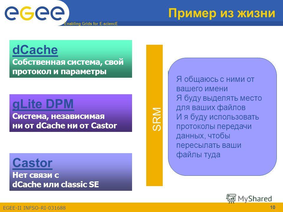 Enabling Grids for E-sciencE EGEE-II INFSO-RI-031688 10 Пример из жизни dCache Собственная система, свой протокол и параметры Castor Нет связи с dCache или classic SE gLite DPM Система, независимая ни от dCache ни от Castor Как пользователь, вы должн