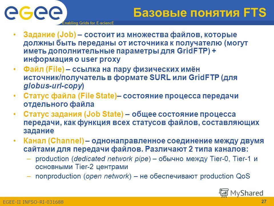 Enabling Grids for E-sciencE EGEE-II INFSO-RI-031688 27 Базовые понятия FTS Задание (Job) – состоит из множества файлов, которые должны быть переданы от источника к получателю (могут иметь дополнительные параметры для GridFTP) + информация о user pro