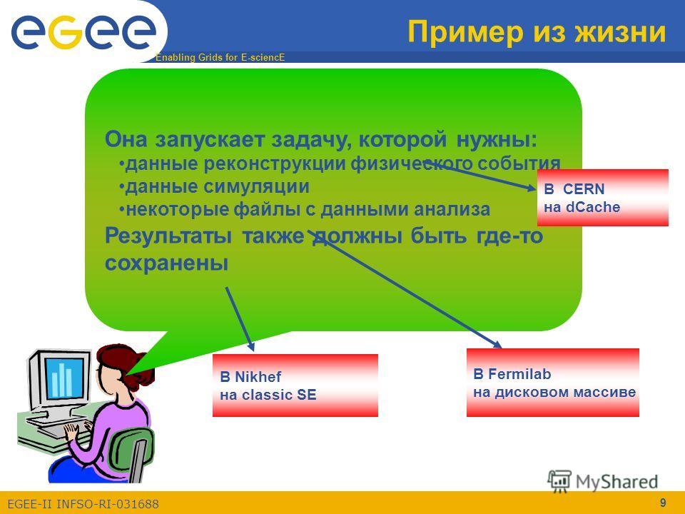 Enabling Grids for E-sciencE EGEE-II INFSO-RI-031688 9 Пример из жизни Она запускает задачу, которой нужны: данные реконструкции физического события данные симуляции некоторые файлы с данными анализа Результаты также должны быть где-то сохранены В CE