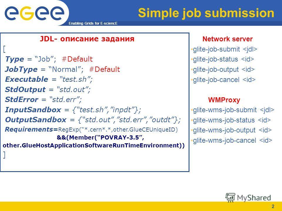 Enabling Grids for E-sciencE 2 Simple job submission JDL- описание задания [ Type = Job; #Default JobType = Normal; #Default Executable = test.sh; StdOutput = std.out; StdError = std.err; InputSandbox = {test.sh,inpdt}; OutputSandbox = {std.out,std.e