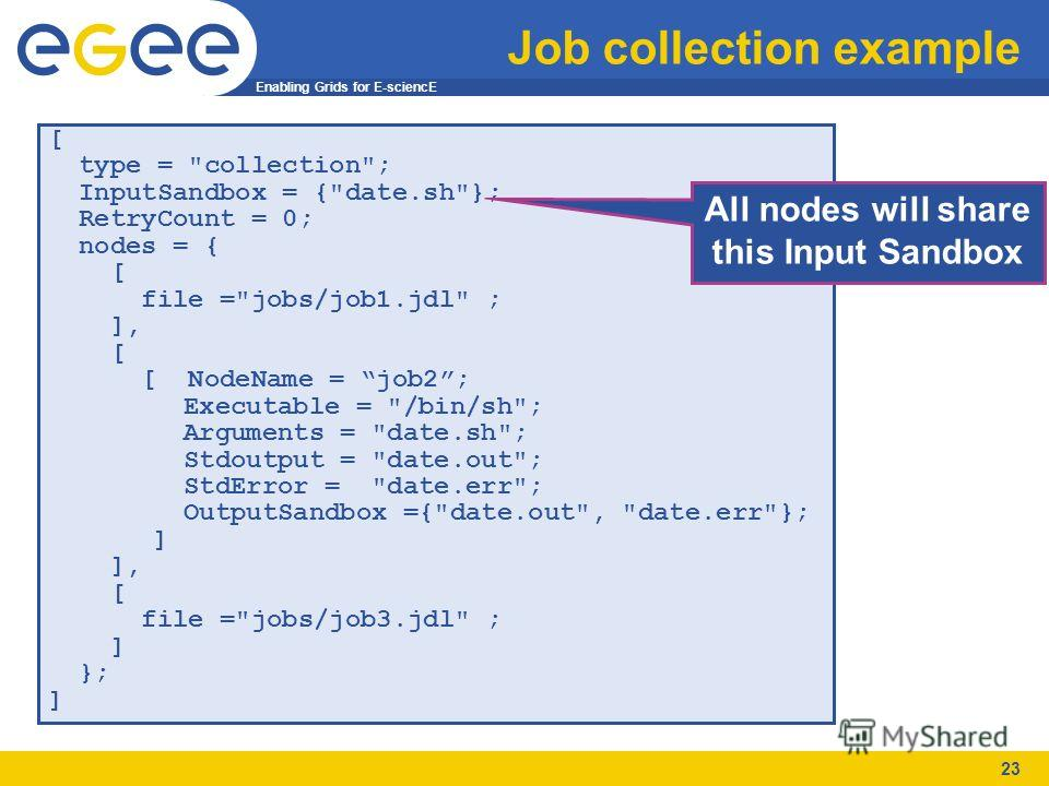 Enabling Grids for E-sciencE 23 Job collection example [ type =