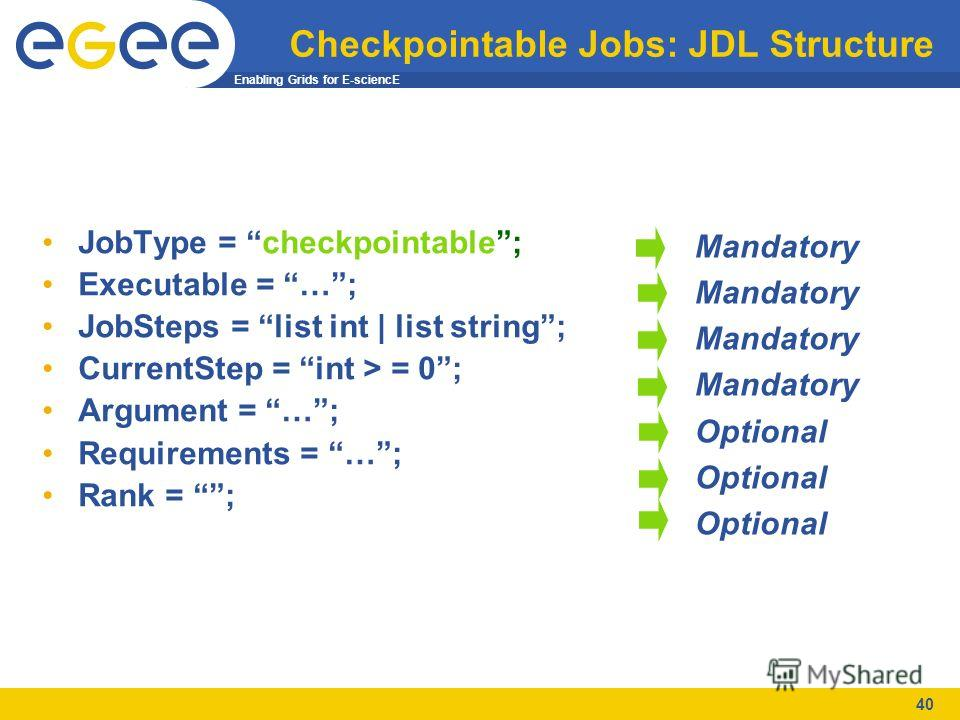 Enabling Grids for E-sciencE 40 Checkpointable Jobs: JDL Structure JobType = checkpointable; Executable = …; JobSteps = list int | list string; CurrentStep = int > = 0; Argument = …; Requirements = …; Rank = ; Mandatory Optional