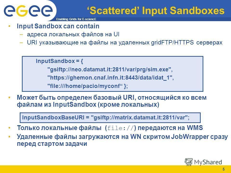 Enabling Grids for E-sciencE 5 Scattered Input Sandboxes Input Sandbox can contain –адреса локальных файлов на UI –URI указывающие на файлы на удаленных gridFTP/HTTPS серверах Может быть определен базовый URI, относящийся ко всем файлам из InputSandb