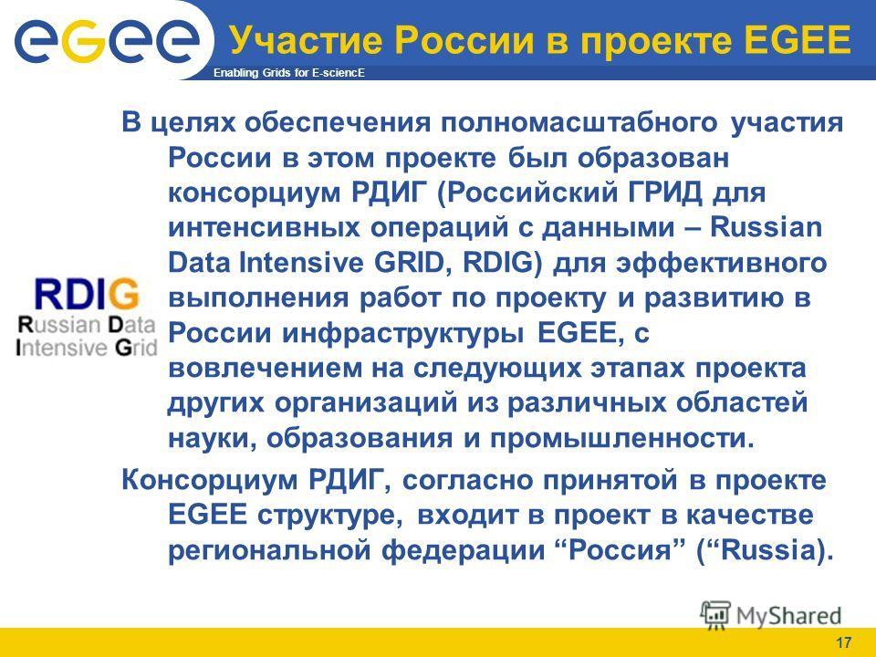 Enabling Grids for E-sciencE 17 Участие России в проекте EGEE В целях обеспечения полномасштабного участия России в этом проекте был образован консорциум РДИГ (Российский ГРИД для интенсивных операций с данными – Russian Data Intensive GRID, RDIG) дл