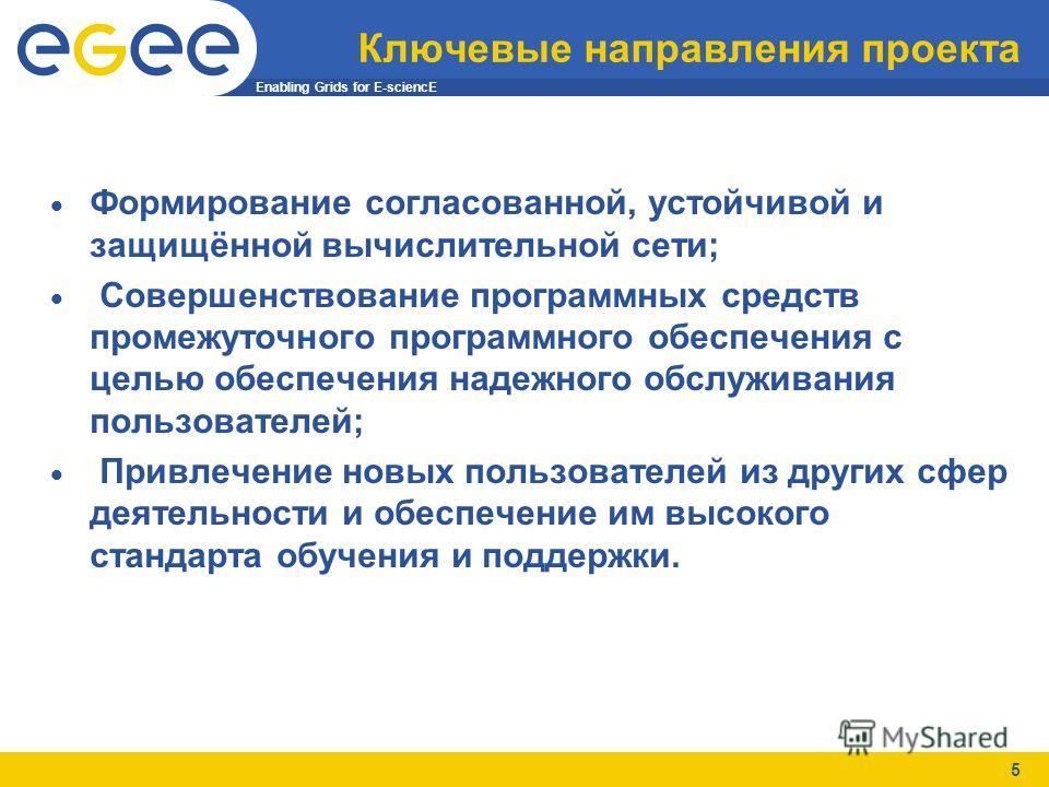 Enabling Grids for E-sciencE 5 Ключевые направления проекта Формирование согласованной, устойчивой и защищённой вычислительной сети; Совершенствование программных средств промежуточного программного обеспечения с целью обеспечения надежного обслужива