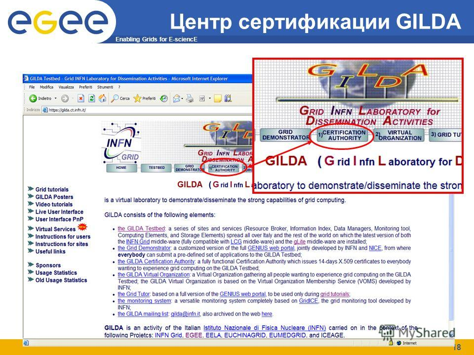 Enabling Grids for E-sciencE 18 Центр сертификации GILDA