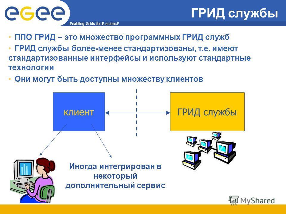 Enabling Grids for E-sciencE ГРИД службы клиент Иногда интегрирован в некоторый дополнительный сервис ППО ГРИД – это множество программных ГРИД служб ГРИД службы более-менее стандартизованы, т.е. имеют стандартизованные интерфейсы и используют станда