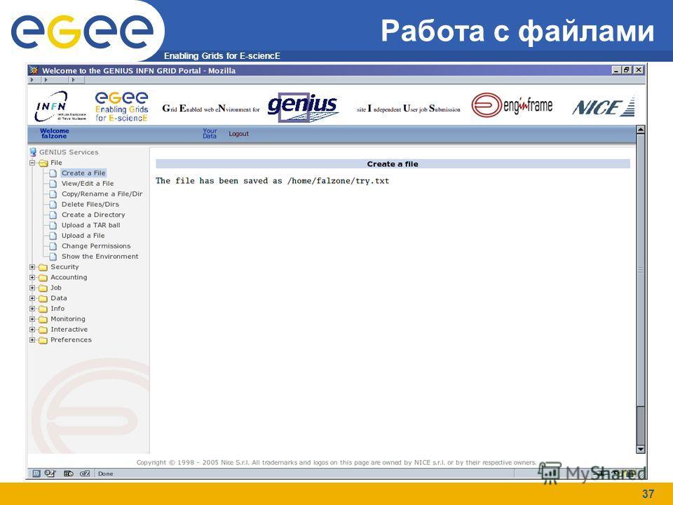 Enabling Grids for E-sciencE 37 Работа с файлами