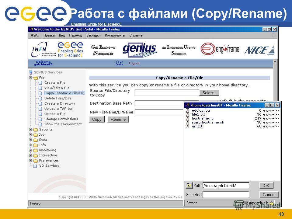 Enabling Grids for E-sciencE 40 Работа с файлами (Copy/Rename)