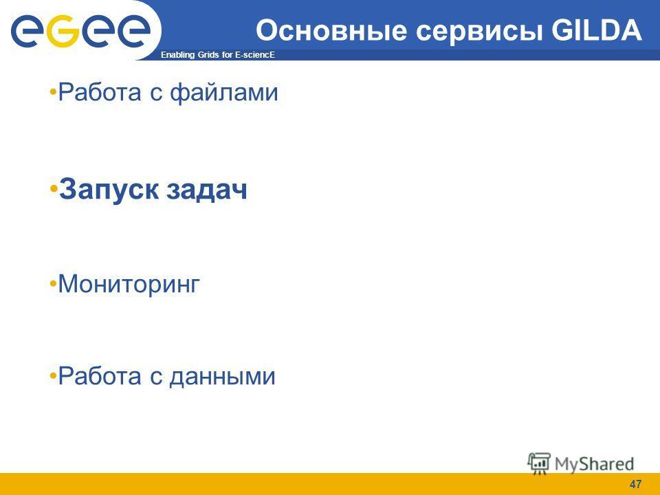 Enabling Grids for E-sciencE 47 Основные сервисы GILDA Работа с файлами Запуск задач Мониторинг Работа с данными