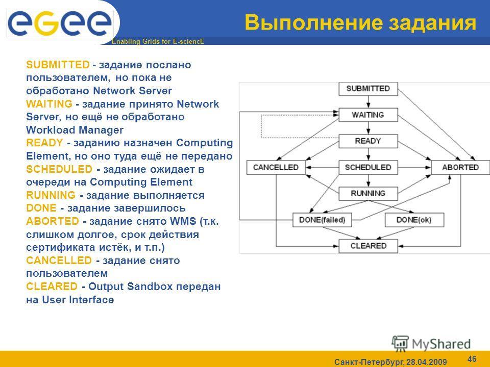 Enabling Grids for E-sciencE Санкт-Петербург, 28.04.2009 46 Выполнение задания SUBMITTED - задание послано пользователем, но пока не обработано Network Server WAITING - задание принято Network Server, но ещё не обработано Workload Manager READY - зад