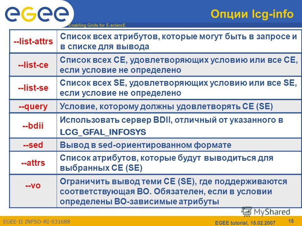 Enabling Grids for E-sciencE EGEE-II INFSO-RI-031688 EGEE tutorial, 15.02.2007 15 Опции lcg-info --list-attrs Список всех атрибутов, которые могут быть в запросе и в списке для вывода --list-сe Список всех СE, удовлетворяющих условию или все СE, если