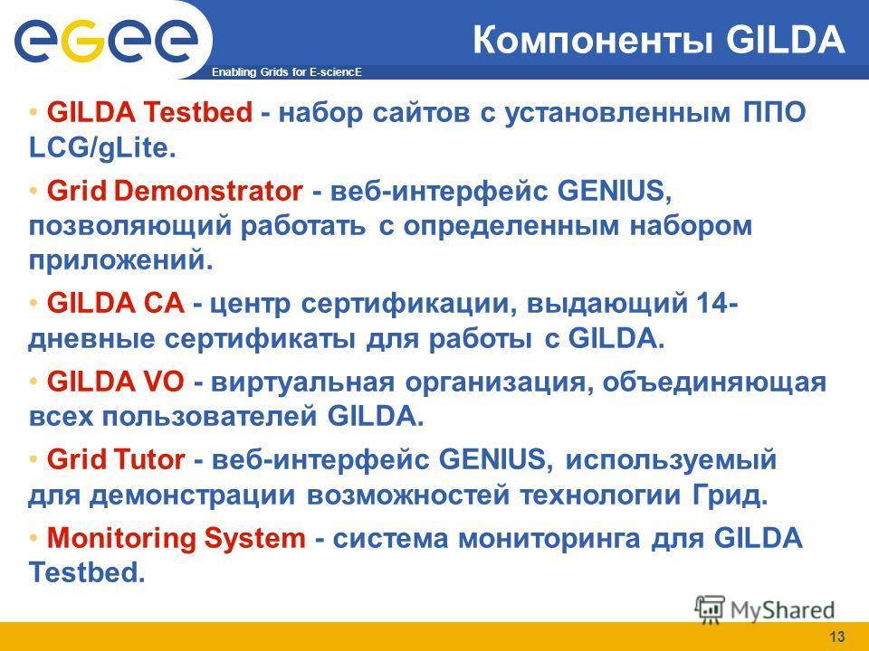 Enabling Grids for E-sciencE 13 Компоненты GILDA GILDA Testbed - набор сайтов с установленным ППО LCG/gLite. Grid Demonstrator - веб-интерфейс GENIUS, позволяющий работать с определенным набором приложений. GILDA CA - центр сертификации, выдающий 14-
