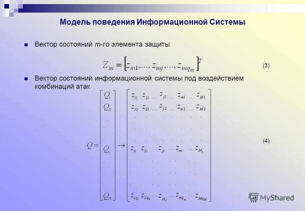 Модель поведения Информационной Системы Вектор состояний m-го элемента защиты Вектор состояний информационной системы под воздействием комбинаций атак (3) (4)