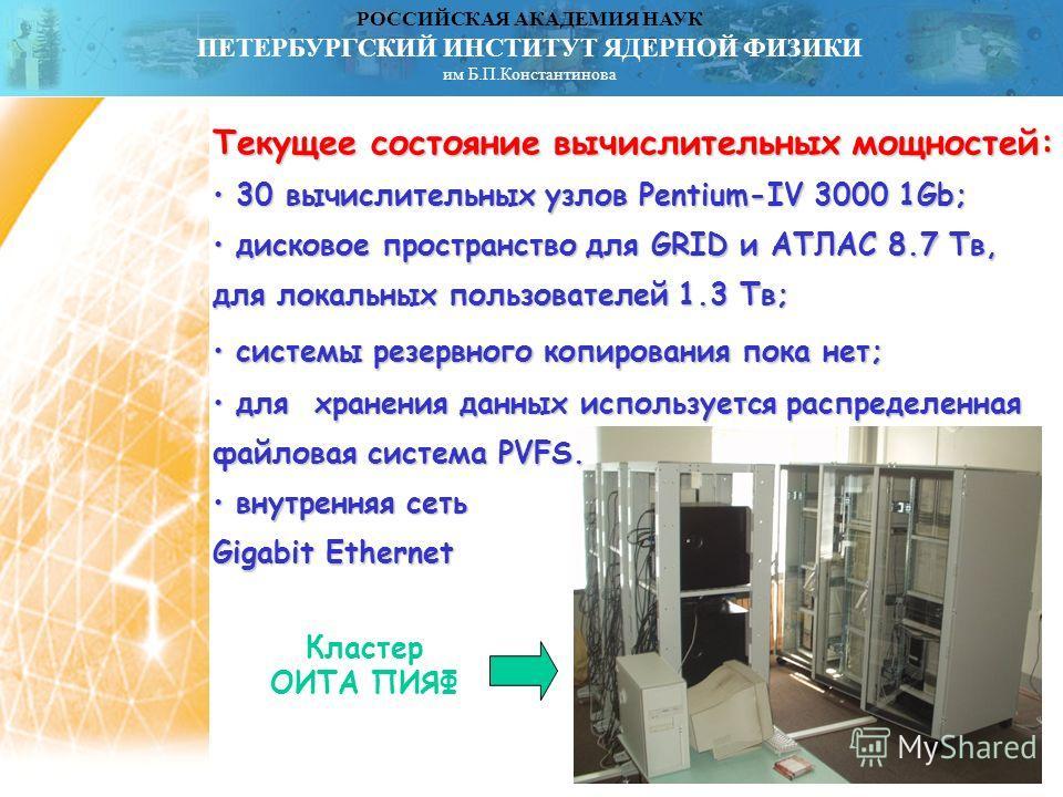 РОССИЙСКАЯ АКАДЕМИЯ НАУК ПЕТЕРБУРГСКИЙ ИНСТИТУТ ЯДЕРНОЙ ФИЗИКИ им Б.П.Константинова Текущее состояние вычислительных мощностей: 30 вычислительных узлов Pentium-IV 3000 1Gb; 30 вычислительных узлов Pentium-IV 3000 1Gb; дисковое пространство для GRID и