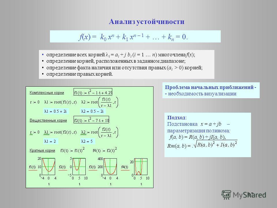 f(x) = k 0 x n + k 1 x n – 1 + … + k n = 0. Анализ устойчивости определение всех корней i = a i + j b i (i = 1 … n) многочлена f(x); определение корней, расположенных в заданном диапазоне; определение факта наличия или отсутствия правых (a i > 0) кор