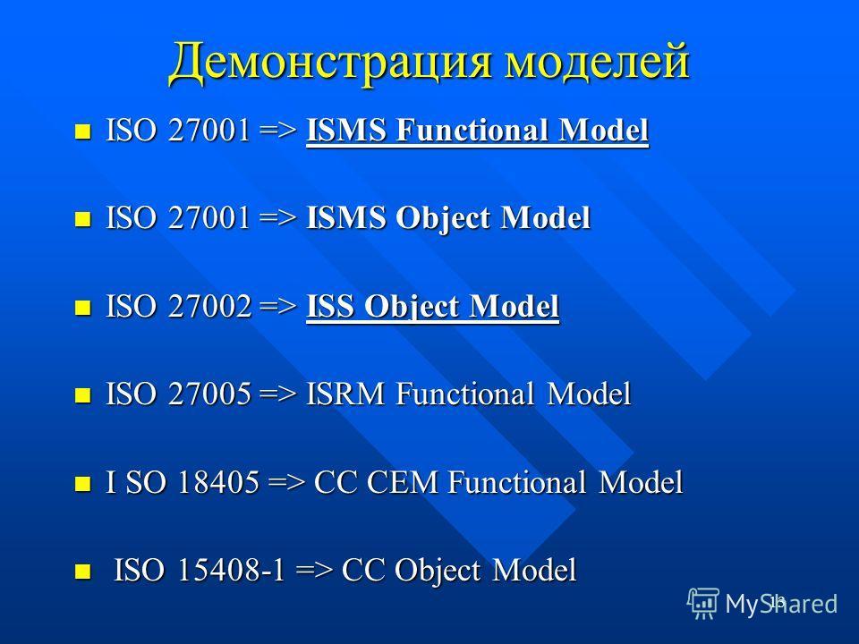 13 Демонстрация моделей ISO 27001 => ISMS Functional Model ISO 27001 => ISMS Functional Model ISO 27001 => ISMS Object Model ISO 27001 => ISMS Object Model ISO 27002 => ISS Object Model ISO 27002 => ISS Object Model ISO 27005 => ISRM Functional Model