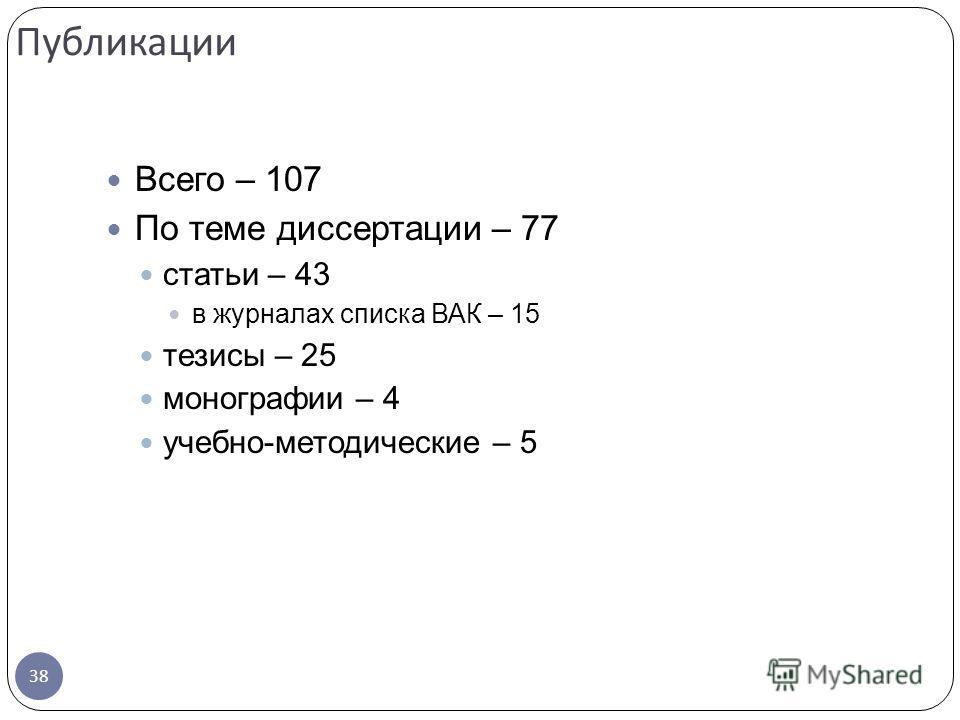 Всего – 107 По теме диссертации – 77 статьи – 43 в журналах списка ВАК – 15 тезисы – 25 монографии – 4 учебно-методические – 5 Публикации 38