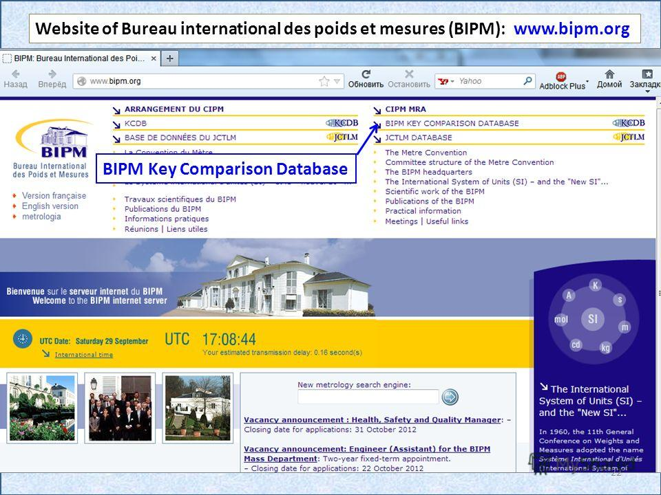 Website of Bureau international des poids et mesures (BIPM): www.bipm.org BIPM Key Comparison Database 22