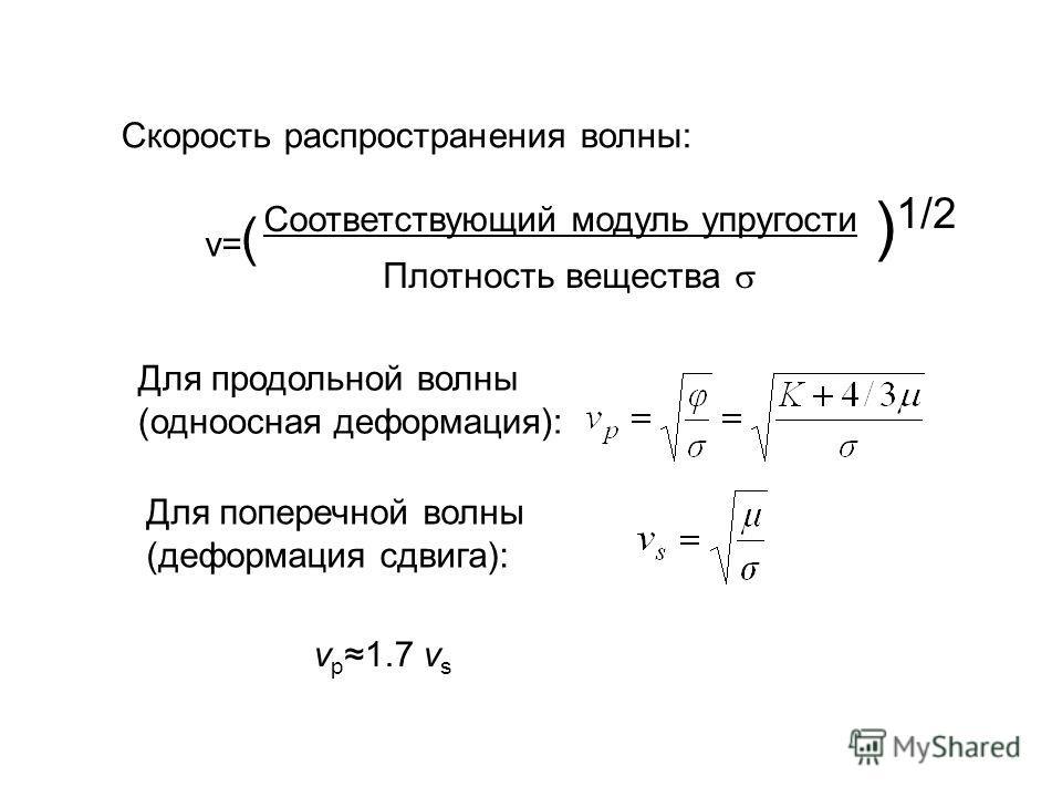 Скорость распространения волны: v= Соответствующий модуль упругости Плотность вещества ( ) 1/2 Для продольной волны (одноосная деформация): Для поперечной волны (деформация сдвига): v p 1.7 v s