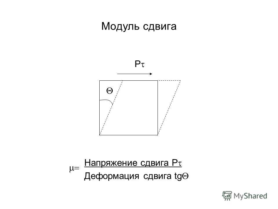 Модуль сдвига P Напряжение сдвига P Деформация сдвига tg