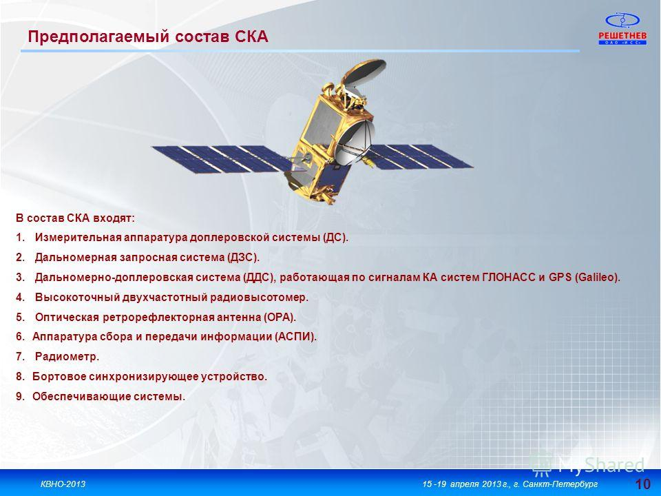 10 КВНО-201315 -19 апреля 2013 г., г. Санкт-Петербург В состав СКА входят: 1. Измерительная аппаратура доплеровской системы (ДС). 2. Дальномерная запросная система (ДЗС). 3. Дальномерно-доплеровская система (ДДС), работающая по сигналам КА систем ГЛО