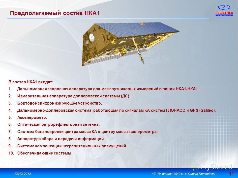 11 КВНО-201315 -19 апреля 2013 г., г. Санкт-Петербург В состав НКА1 входят: 1.Дальномерная запросная аппаратура для межспутниковых измерений в линии НКА1-НКА1. 2.Измерительная аппаратура доплеровской системы (ДС). 3.Бортовое синхронизирующее устройст