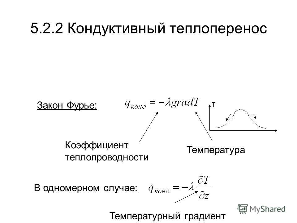 5.2.2 Кондуктивный теплоперенос Закон Фурье: Температура Коэффициент теплопроводности В одномерном случае: T Температурный градиент