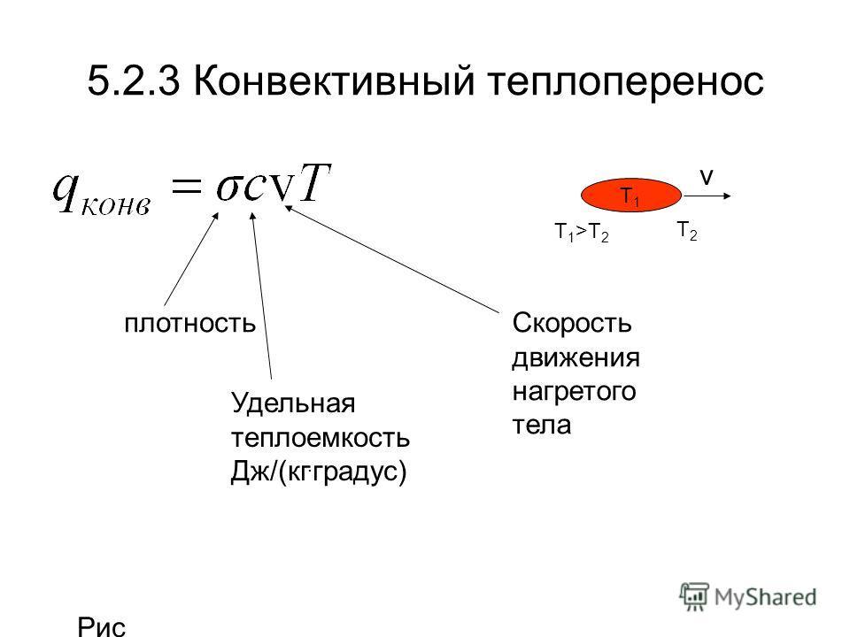 5.2.3 Конвективный теплоперенос плотность Удельная теплоемкость Дж/(кг. градус) Скорость движения нагретого тела T1T1 T2T2 T 1 >T 2 v Рис