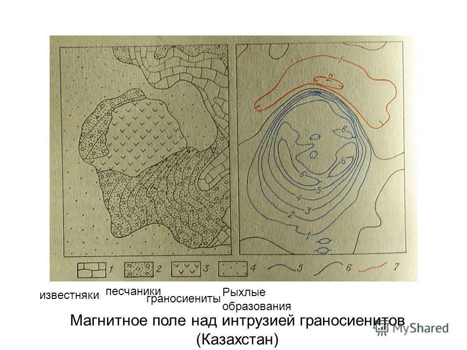 Магнитное поле над интрузией граносиенитов (Казахстан) известняки песчаники граносиениты Рыхлые образования
