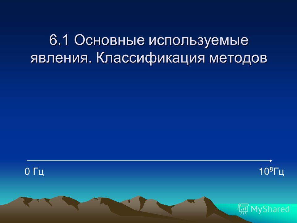 6.1 Основные используемые явления. Классификация методов 0 Гц10 8 Гц