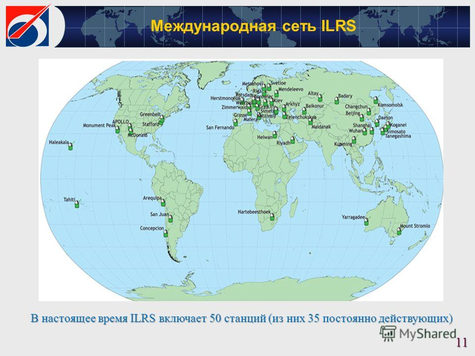 [м][м] Международная сеть ILRS 11 В настоящее время ILRS включает 50 станций (из них 35 постоянно действующих)