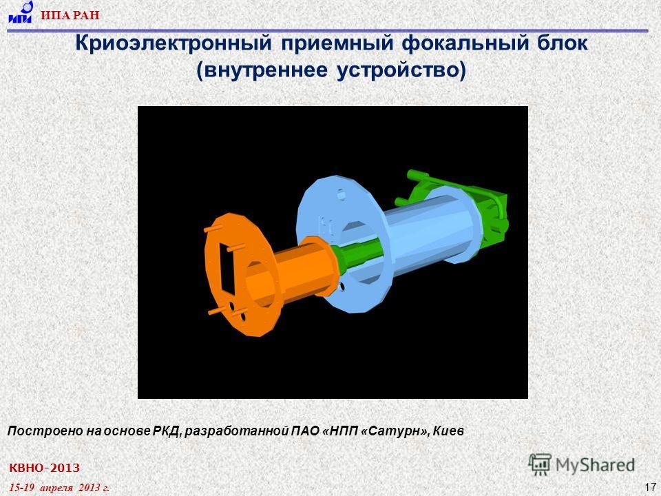 КВНО-2013 15-19 апреля 2013 г. ИПА РАН 17 Криоэлектронный приемный фокальный блок (внутреннее устройство) Построено на основе РКД, разработанной ПАО «НПП «Сатурн», Киев