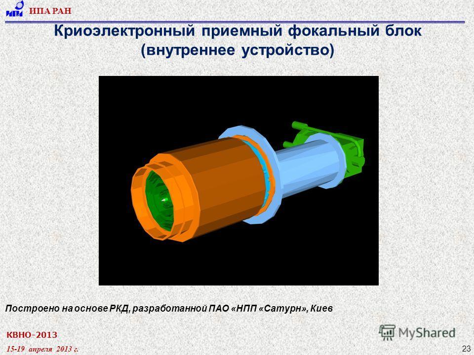 КВНО-2013 15-19 апреля 2013 г. ИПА РАН 23 Криоэлектронный приемный фокальный блок (внутреннее устройство) Построено на основе РКД, разработанной ПАО «НПП «Сатурн», Киев