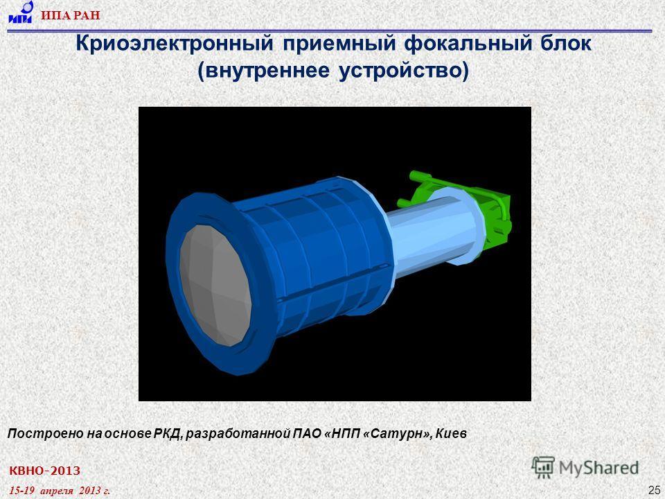 КВНО-2013 15-19 апреля 2013 г. ИПА РАН 25 Криоэлектронный приемный фокальный блок (внутреннее устройство) Построено на основе РКД, разработанной ПАО «НПП «Сатурн», Киев