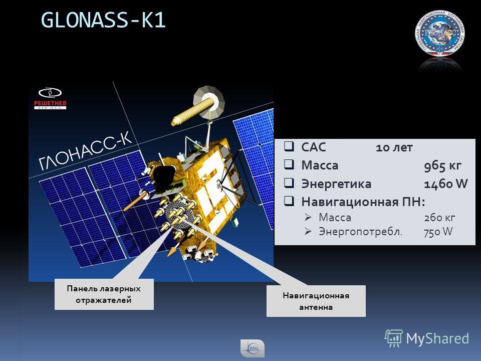 GLONASS-K1 САС10 лет Масса965 кг Энергетика1460 W Навигационная ПН: Масса260 кг Энергопотребл.750 W Панель лазерных отражателей Навигационная антенна