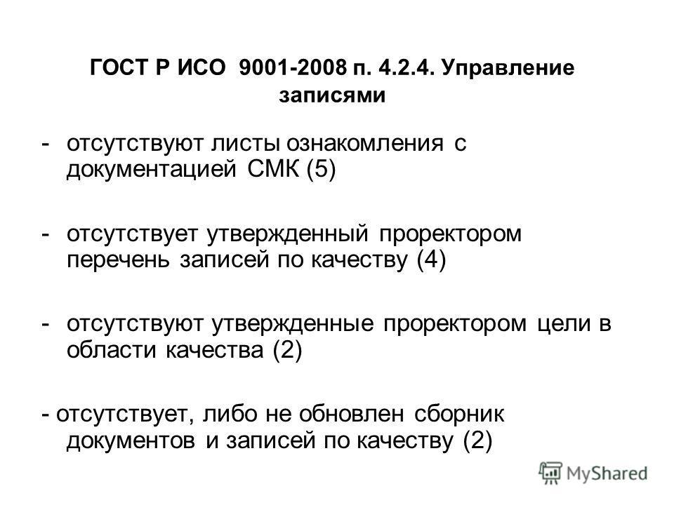 -отсутствуют листы ознакомления с документацией СМК (5) -отсутствует утвержденный проректором перечень записей по качеству (4) -отсутствуют утвержденные проректором цели в области качества (2) - отсутствует, либо не обновлен сборник документов и запи