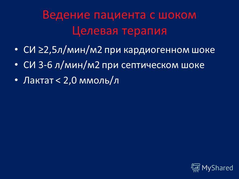 СИ 2,5л/мин/м2 при кардиогенном шоке СИ 3-6 л/мин/м2 при септическом шоке Лактат < 2,0 ммоль/л Ведение пациента с шоком Целевая терапия