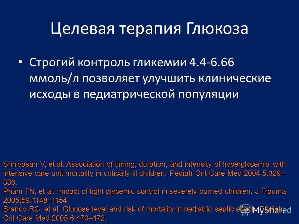 Целевая терапия Глюкоза Строгий контроль гликемии 4.4-6.66 ммоль/л позволяет улучшить клинические исходы в педиатрической популяции Srinivasan V, et al. Association of timing, duration, and intensity of hyperglycemia with intensive care unit mortalit
