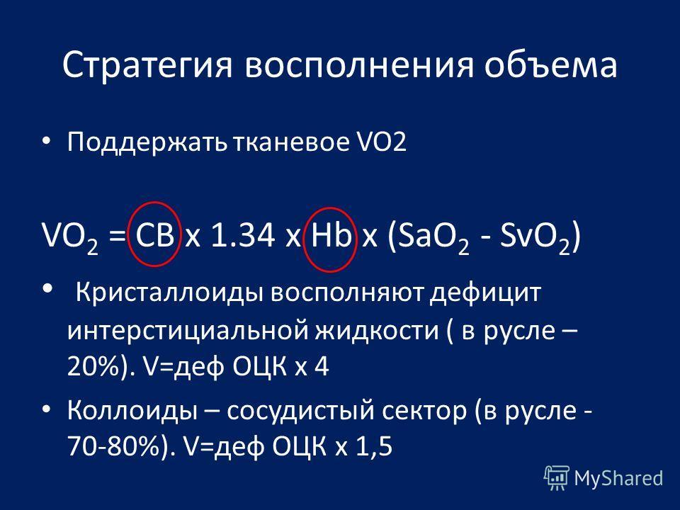 Стратегия восполнения объема Поддержать тканевое VO2 VO 2 = СВ x 1.34 x Hb х (SaO 2 - SvO 2 ) Кристаллоиды восполняют дефицит интерстициальной жидкости ( в русле – 20%). V=деф ОЦК х 4 Коллоиды – сосудистый сектор (в русле - 70-80%). V=деф ОЦК х 1,5