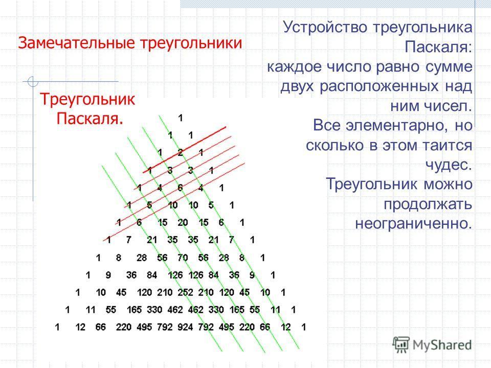Треугольник Паскаля. Устройство треугольника Паскаля: каждое число равно сумме двух расположенных над ним чисел. Все элементарно, но сколько в этом таится чудес. Треугольник можно продолжать неограниченно. Замечательные треугольники