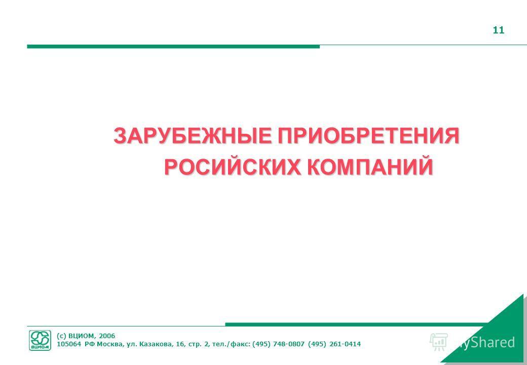 (с) ВЦИОМ, 2006 105064 РФ Москва, ул. Казакова, 16, стр. 2, тел./факс: (495) 748-0807 (495) 261-0414 11 ЗАРУБЕЖНЫЕ ПРИОБРЕТЕНИЯ РОСИЙСКИХ КОМПАНИЙ