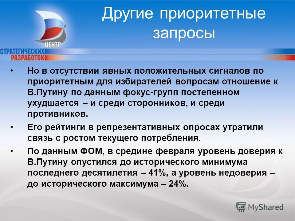 20 Но в отсутствии явных положительных сигналов по приоритетным для избирателей вопросам отношение к В.Путину по данным фокус-групп постепенном ухудшается – и среди сторонников, и среди противников. Его рейтинги в репрезентативных опросах утратили св