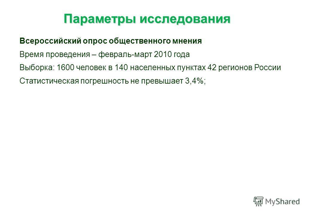 Параметры исследования Параметры исследования Всероссийский опрос общественного мнения Время проведения – февраль-март 2010 года Выборка: 1600 человек в 140 населенных пунктах 42 регионов России Статистическая погрешность не превышает 3,4%;