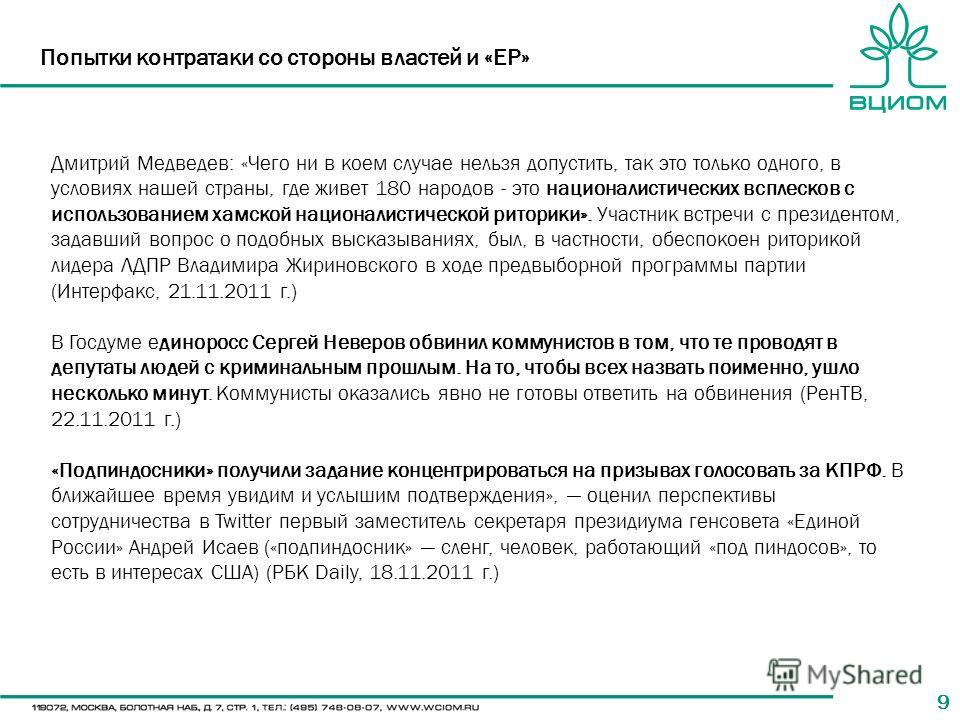 99 Попытки контратаки со стороны властей и «ЕР» Дмитрий Медведев: «Чего ни в коем случае нельзя допустить, так это только одного, в условиях нашей страны, где живет 180 народов - это националистических всплесков с использованием хамской националистич