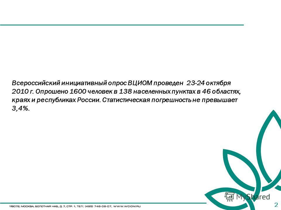 2 Всероссийский инициативный опрос ВЦИОМ проведен 23-24 октября 2010 г. Опрошено 1600 человек в 138 населенных пунктах в 46 областях, краях и республиках России. Статистическая погрешность не превышает 3,4%.