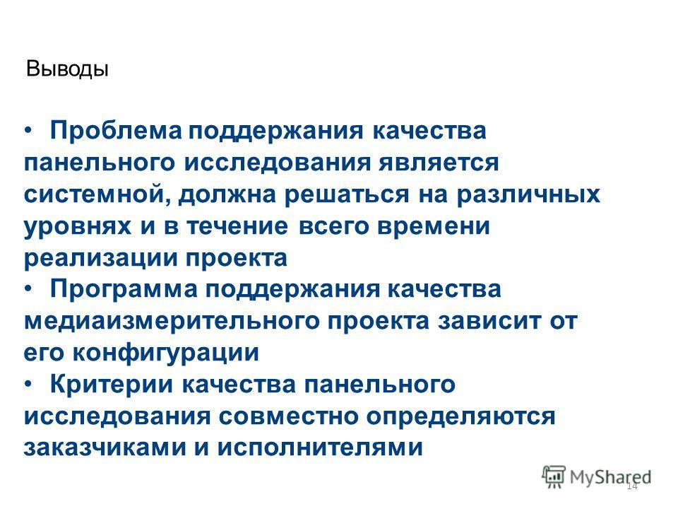Высшая школа экономики, Москва, 2013 Выводы фото Проблема поддержания качества панельного исследования является системной, должна решаться на различных уровнях и в течение всего времени реализации проекта Программа поддержания качества медиаизмерител