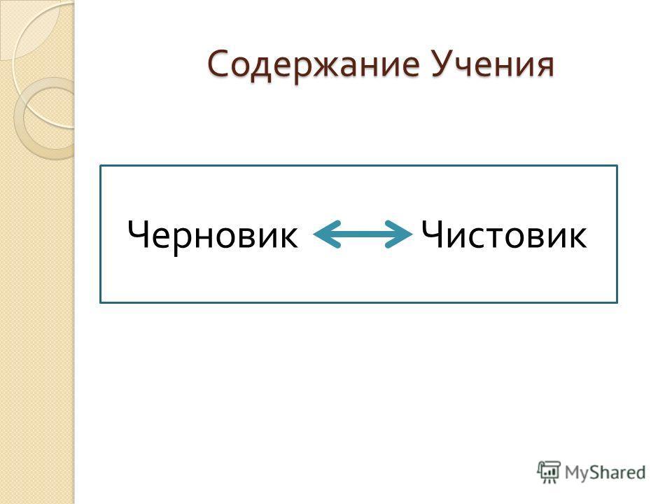 Содержание Учения ЧерновикЧистовик